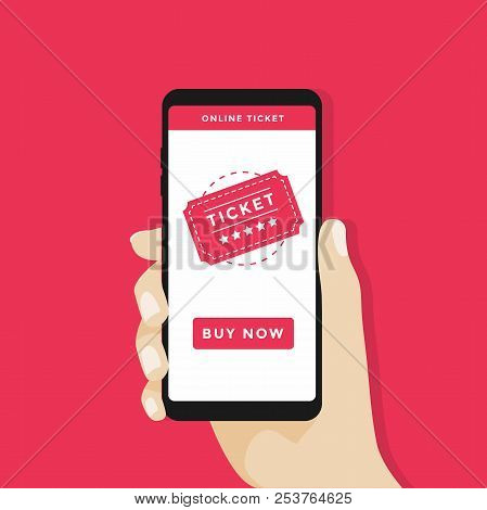 Buy Tickets Online With A Smartphone. Shopping Online Business, Buy Online Concept. Vector