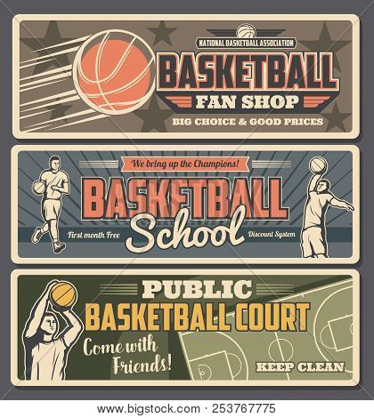 Basketball School Or Shop With Court Retro Banners With Professional Players In Uniform With Ball. S