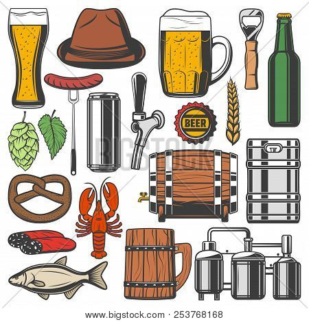 Beer Alcohol Drink Retro Icons For Bar Or Pub Themes Design. Bottle, Glass And Mug Of Lager Or Wheat