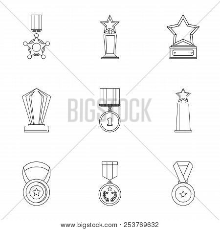 Reckoning icons set. Outline set of 9 reckoning icons for web isolated on white background poster