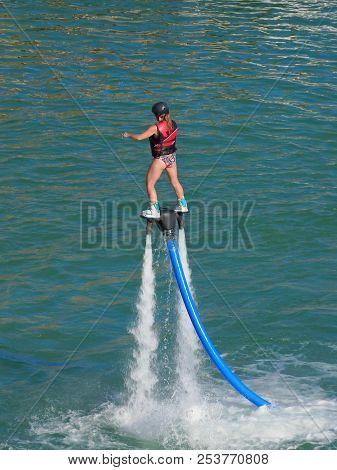 The Latest Extreme Sport Of Dancing On A Water Jet On The Colorado River In Lake Havasu City In West