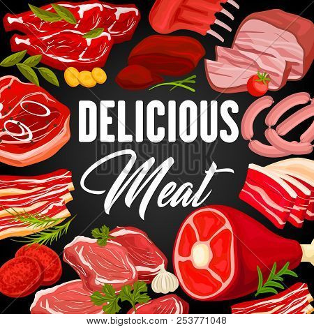 Meat Products Market Or Butcher Shop Poster With Frame Of Beef Raw Filet And Steak, Pork Bacon And T