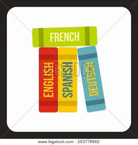 Books Of Foreign Languages Icon In Flat Style With Long Shadow. Translate Symbol Illustration