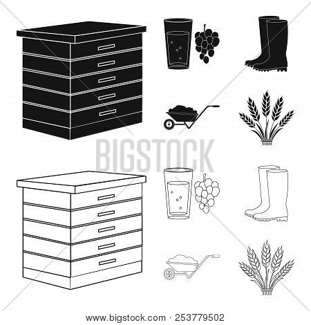 Hive, Grapes, Boots, Wheelbarrow.farm Set Collection Icons In Black, Outline Style Vector Symbol Sto