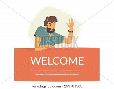 Welcome To Our Community. Flat Vector Illustration Of Smiling Friendly Man Sitting On Banner And Wav