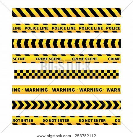 Yellow And Black Caution Tapes, Seamless Borders Set On White