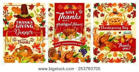 Thanksgiving Day Greeting Cards Or Posters For Traditional Autumn Holiday Festival. Vector Design Of