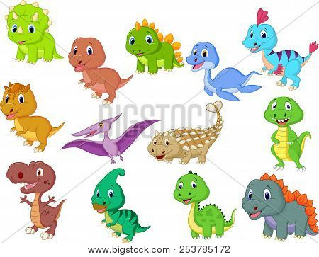 Cute Baby Dinosaurs Collection Isolated On White Background
