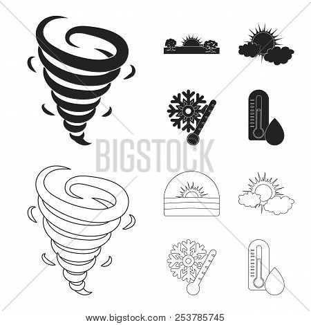 Tornado, Sunrise, Cloudiness, Snow And Frost. The Weather Set Collection Icons In Black, Outline Sty