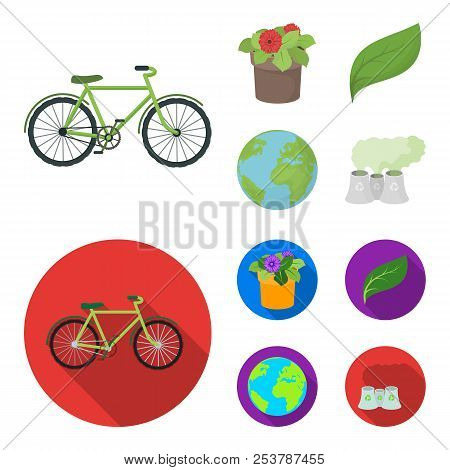 A Processing Plant, Flowers In A Pot, A Green Leaf, A Planet Earth.bio And Ecology Set Collection Ic
