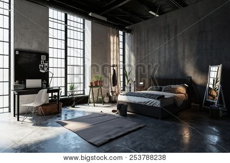 Large spacious bedroom in an attic conversion with tall floor to ceiling windows, grey concrete walls, double divan style bed, plants desk and chair. 3d rendering.