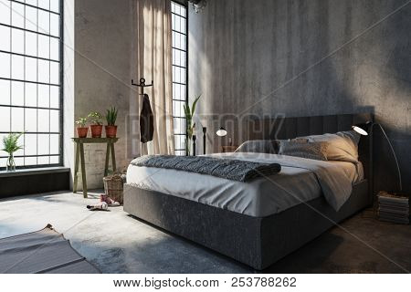 Neat divan style bed with headboard in a modern bedroom interior in a converted industrial attic with tall windows illuminated by lamps in a low angle view, 3d rendering
