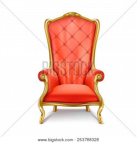 Luxurious Antiquarian Red Armchair With High Backrest Realistic Illustration Isolated On White Backg