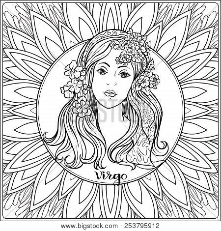 Virgo, Women. Decorative Zodiac Sign On Pattern Background. Outline Hand Drawing. Good For Coloring