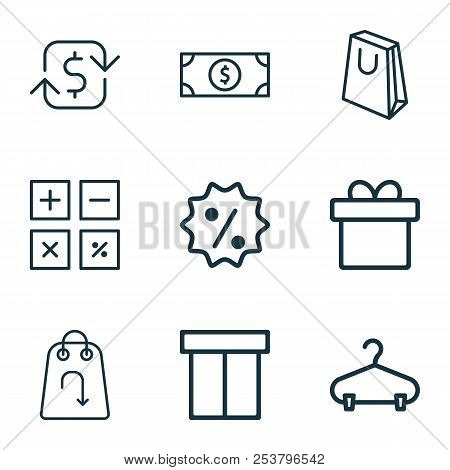 Ecommerce Icons Set With Sale Badge, Hanger, Gift And Other Present Elements. Isolated Vector Illust
