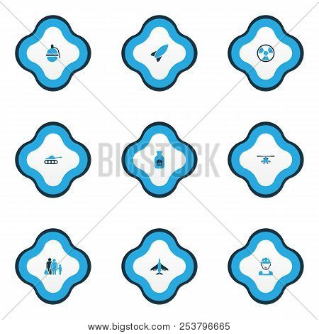 Army Icons Colored Set With Venom, Radiation, Panzer And Other Rocket Elements. Isolated Vector Illu