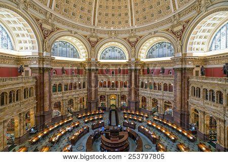 Washington Dc, Usa - May 18, 2018: Main Reading Room Of The Library Of Congress In Washington Dc