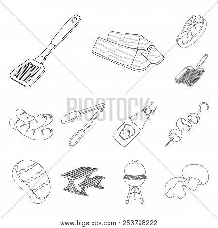Barbecue And Equipment Outline Icons In Set Collection For Design. Picnic And Fried Food Vector Symb