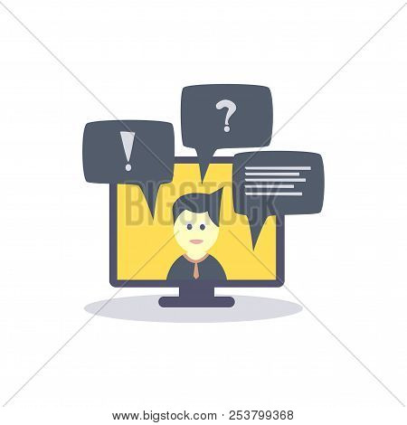 Online Education. Online Training, Vector Illustration In Flat Style.