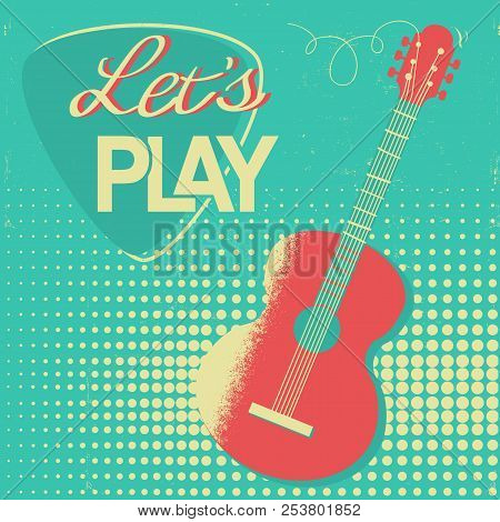 Music Poster With Acoustic Guitar On Old Retro Background For Design