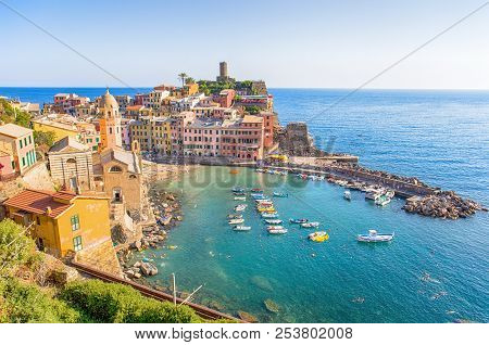 Vernazza, Italy, July 31, 2017 - Panoramic View Of Vernazza, 5 Terre, La Spezia Province, Ligurian C
