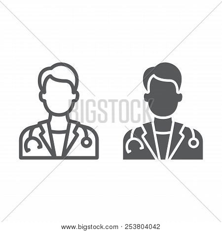 Doctor Line And Glyph Icon, Medicine And Hospital, Physician Sign, Vector Graphics, A Linear Pattern