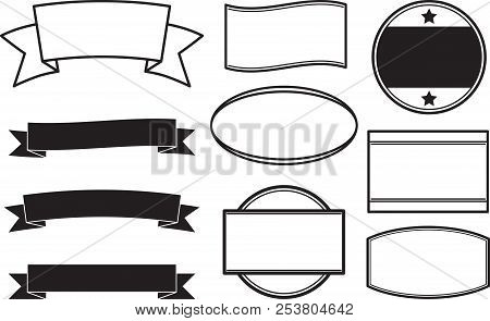 Big Set Of Black Solid Style Templates For Round Rubber Stamps And Ribbon Banners.