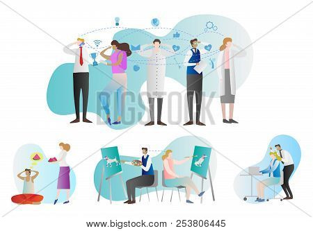 Telepathy Vector Illustration Collection. People Group With Examples Of Brain Paranormal Activity. C
