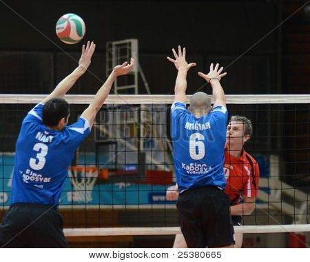 KAPOSVAR, HUNGARY - NOVEMBER 13: Balint Magyar (blue 6) in action at a Hungarian National Championship volleyball game Kaposvar (blue) vs. Nyiregyhaza (red), November 13, 2011 in Kaposvar, Hungary.