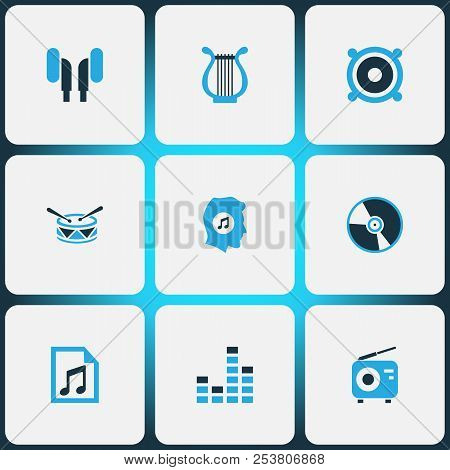 Music Icons Colored Set With File, Cd, Tuner And Other Vinyl Elements. Isolated Vector Illustration