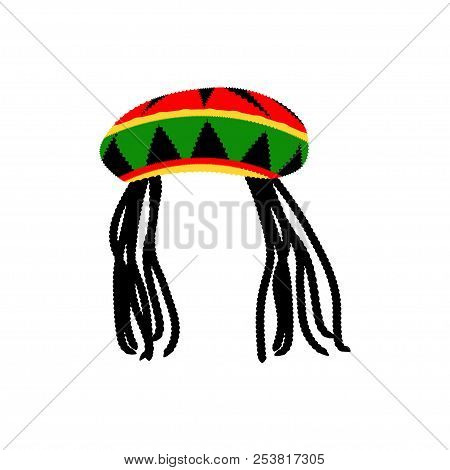 Jamaican Rasta Hat With Dreadlocks. Reggae Style Avatar. Isolated On White Background. Vector Eps 10