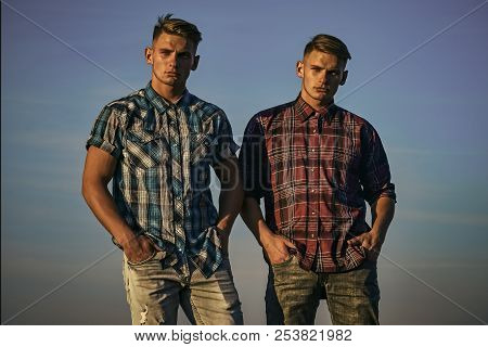 Twin Brothers Man Outdoor, Relations. Man Twins With Athletic Body, Family Values. Future And Freedo