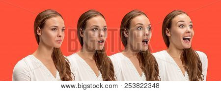 Wow. Collage About Development Of Emotion. Stages Of Surprise. Female Portrait Isolated On Red. Youn