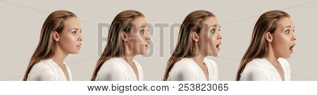 Wow. Collage About Development Of Emotion. Stages Of Surprise. Female Portrait Isolated On Gray. You