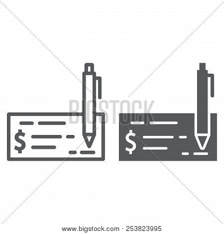 Bank Check Line And Glyph Icon, Finance And Banking, Cheque Sign, Vector Graphics, A Linear Pattern