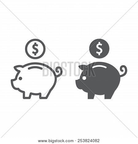 Deposit Line And Glyph Icon, Finance And Banking, Piggy Bank Sign, Vector Graphics, A Linear Pattern