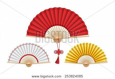 Set Of Three Chinese Fans Isolated On White Background. Large Red Fan With A Wishes Knot In The Cent