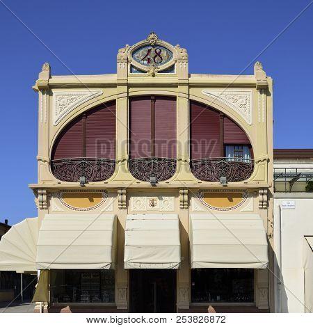 Art Nouveau building from the 1930s in Viareggio, Italy poster
