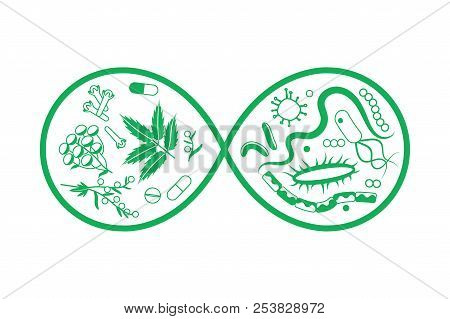 Medical Plants And Bacteria In Infinity Symbol Monochrome Concept. Stock Vector Illustration Of Herb