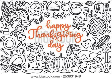 Happy Thanksgiving Day Poster With Greetings Lettering And Doodle Illustration Of Celebration Dinner