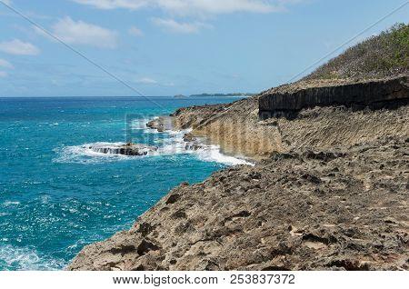 Rocky Coastline And Atlantic Ocean Of Punta Marillos Arecibo Puerto Rico