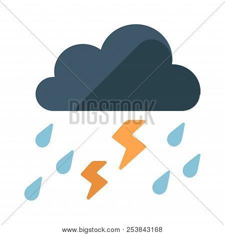 Black Clouds With A Rainstorm Vector Illustration In Flat Color Design