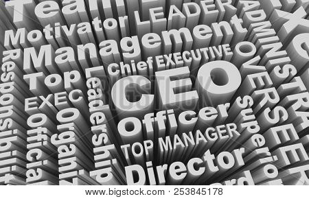 CEO Chief Executive Officer Business Leader Word Collage 3d Illustration