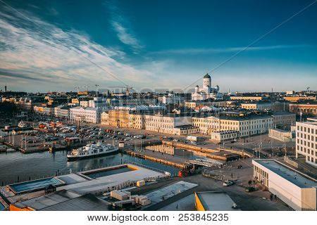Helsinki, Finland. Top View Of Market Square, Street With Presidential Palace And Helsinki Cathedral