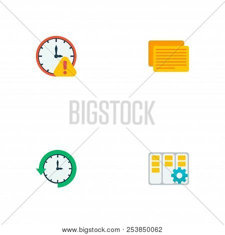 Set Of Task Manager Icons Flat Style Symbols With Log Time, Task Manager, Deadline And Other Icons F