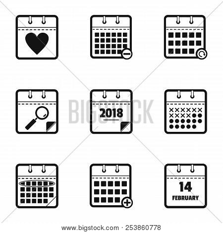 Chronological Table Icons Set. Simple Set Of 9 Chronological Table Icons For Web Isolated On White B