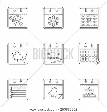 Daily Journal Icons Set. Outline Set Of 9 Daily Journal Icons For Web Isolated On White Background