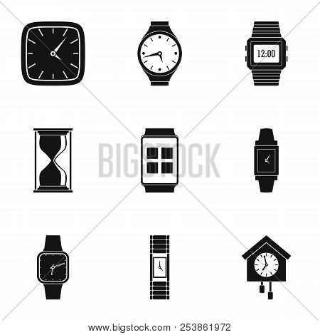 Timepiece Icons Set. Simple Set Of 9 Timepiece Icons For Web Isolated On White Background