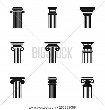 Pole Icons Set. Simple Set Of 9 Pole Icons For Web Isolated On White Background