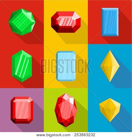 Embellishment icons set. flat set of 9 embellishment icons for web isolated on white background poster